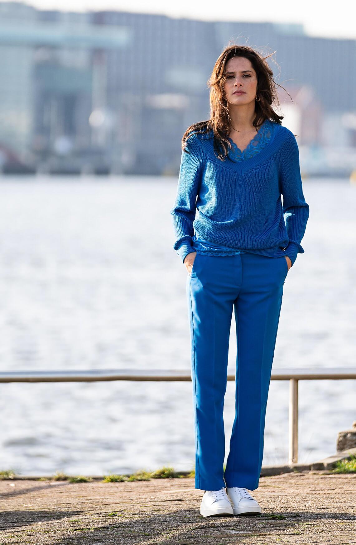 Anna Dames Pantalon Blauw