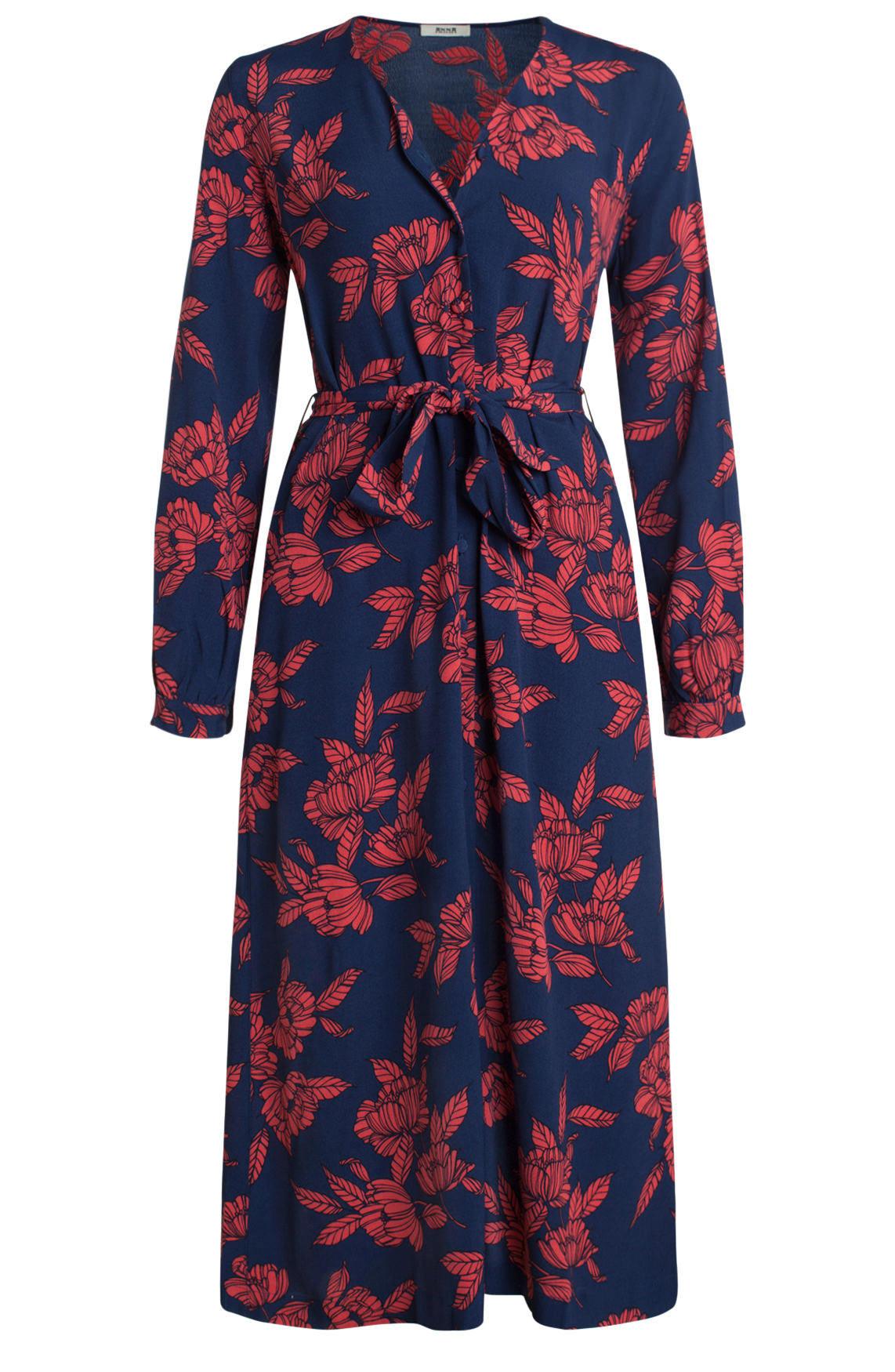 Anna Dames Lange jurk met bloemenprint Blauw