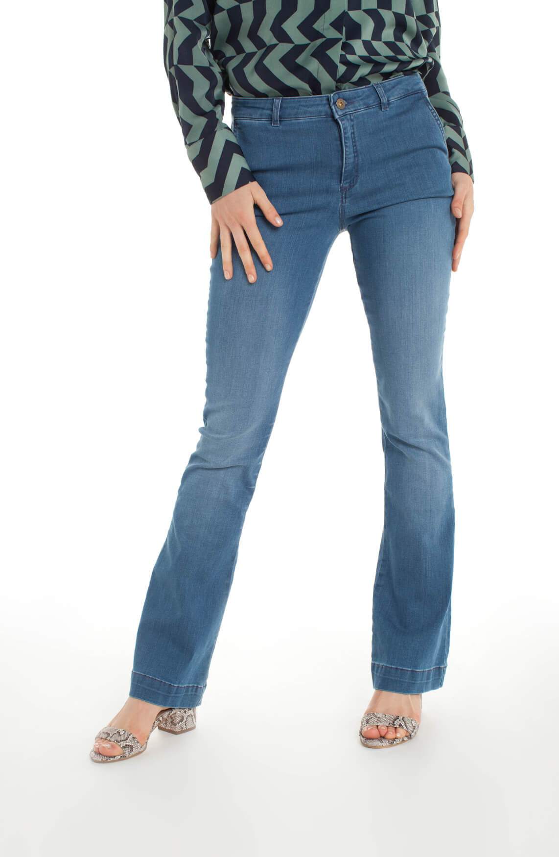 By-Bar Dames Leila flared jeans Blauw