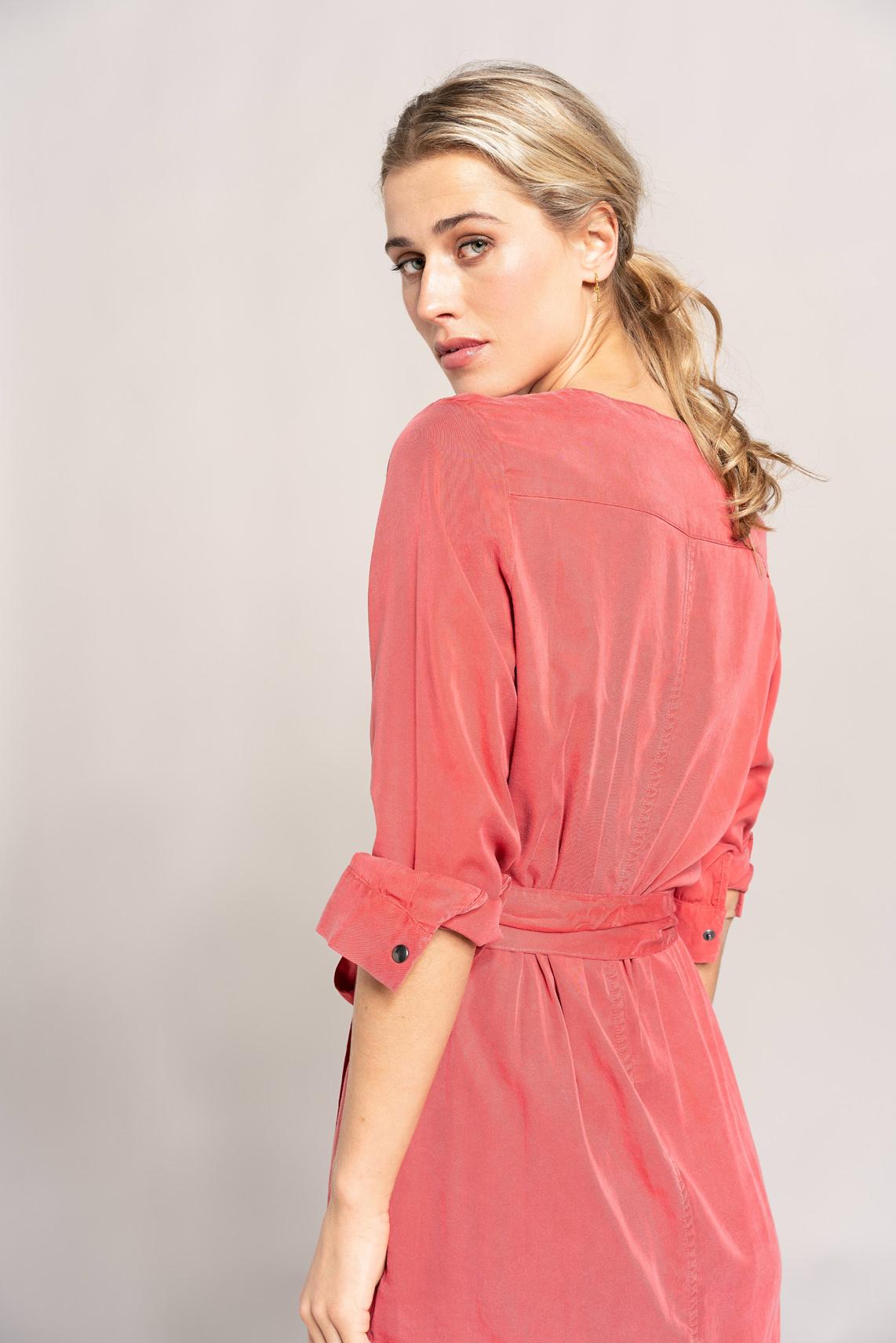 Anna Dames Tencel jurk met ceintuur Rood