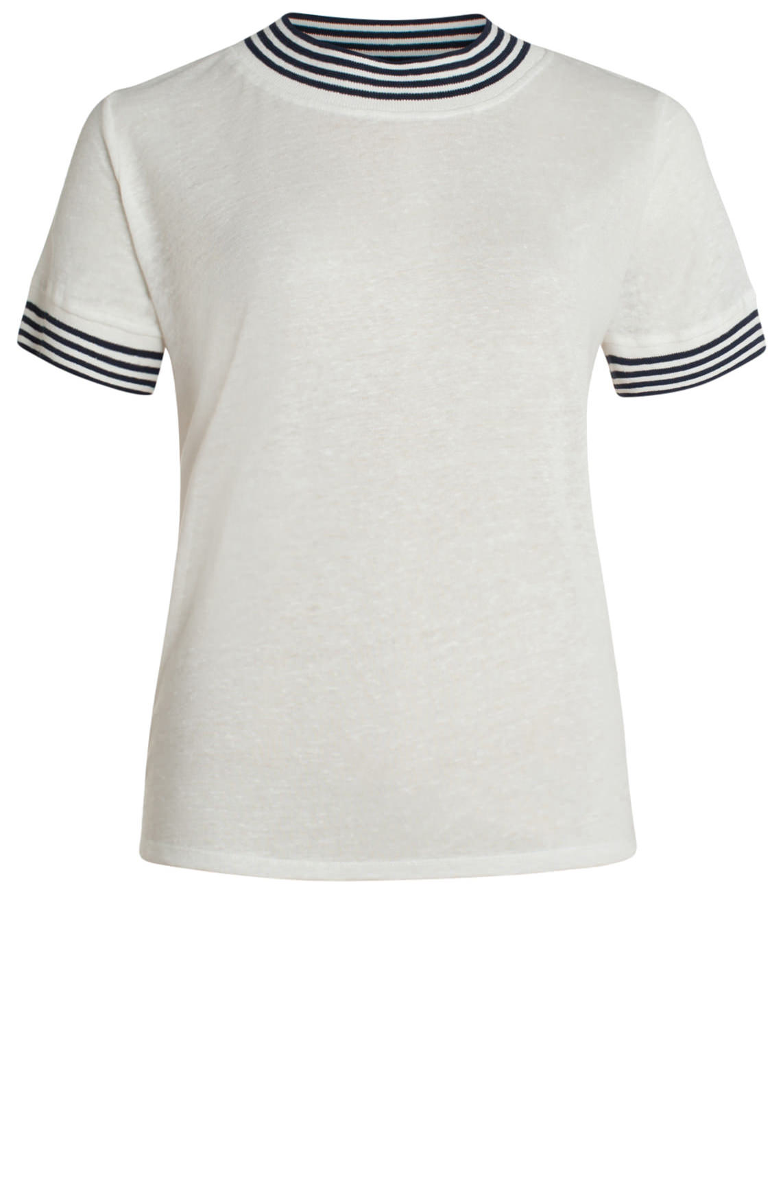 Anna Dames Linnen shirt met hoge hals wit