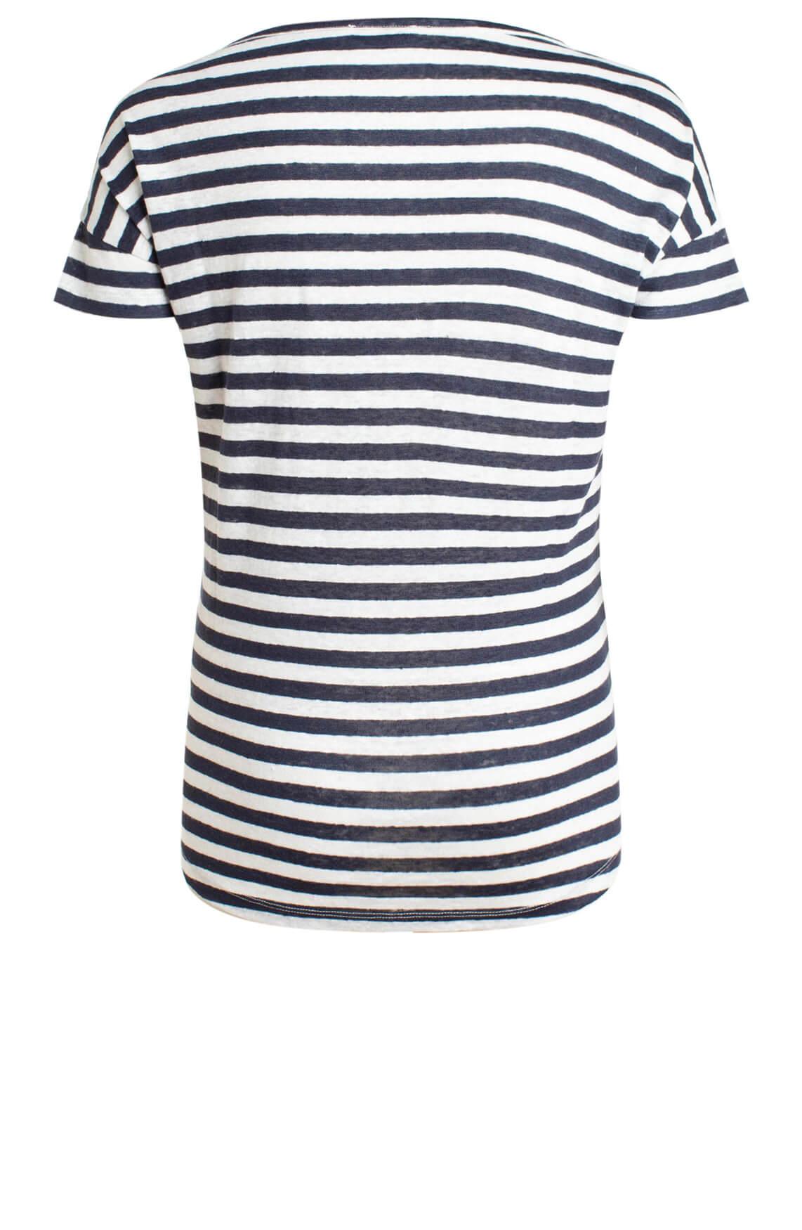 Anna Dames Gestreept linnen shirt Blauw