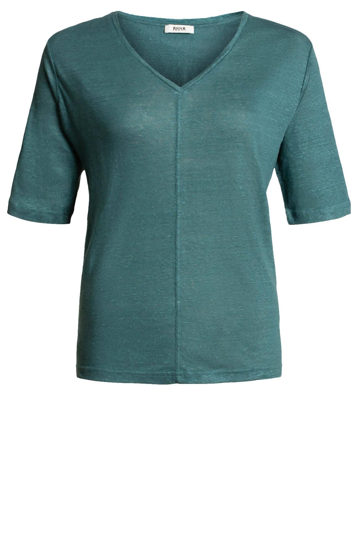 Anna Dames Linnen shirt met V-hals groen