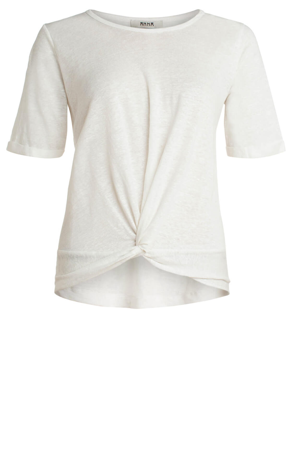 Anna Dames Shirt met knoopdetail wit