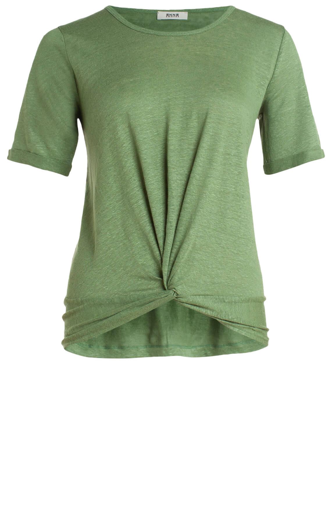 Anna Dames Shirt met knoopdetail groen