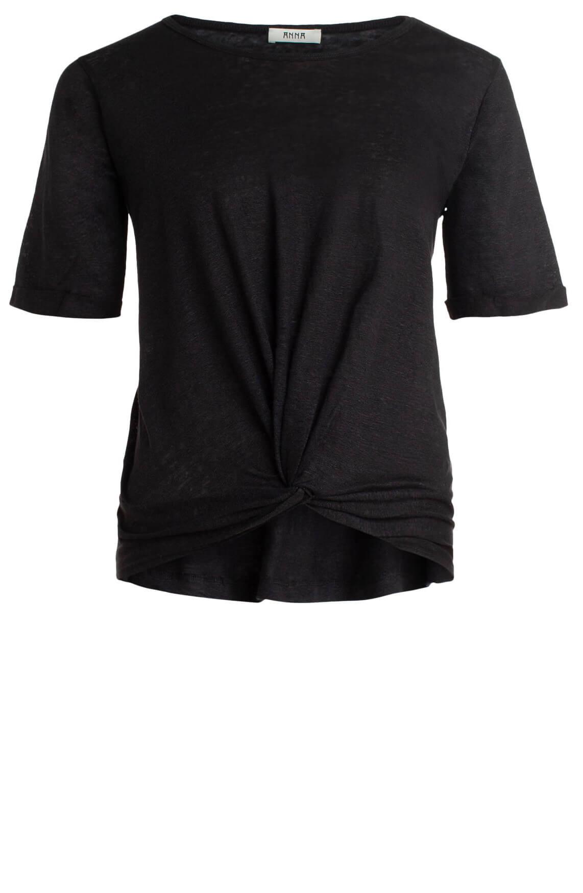 Anna Dames Shirt met knoopdetail zwart