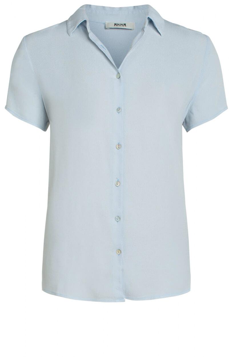 Anna Dames Geweven blouse Blauw