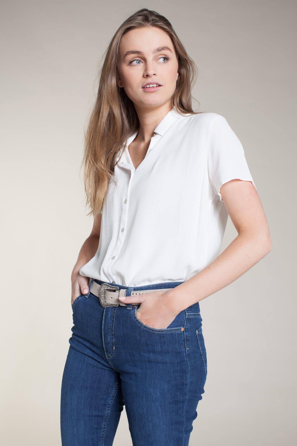 Anna Dames Blouse met korte mouw wit