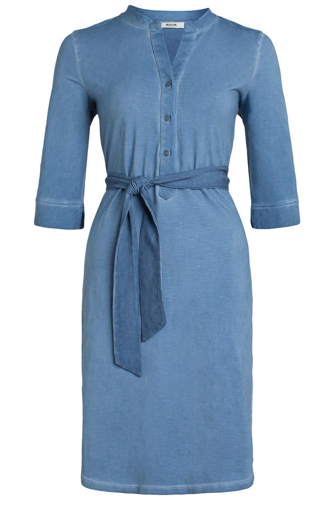 bfb3145e416312 Anna Dames Garment dye jurk met strikceintuur Blauw