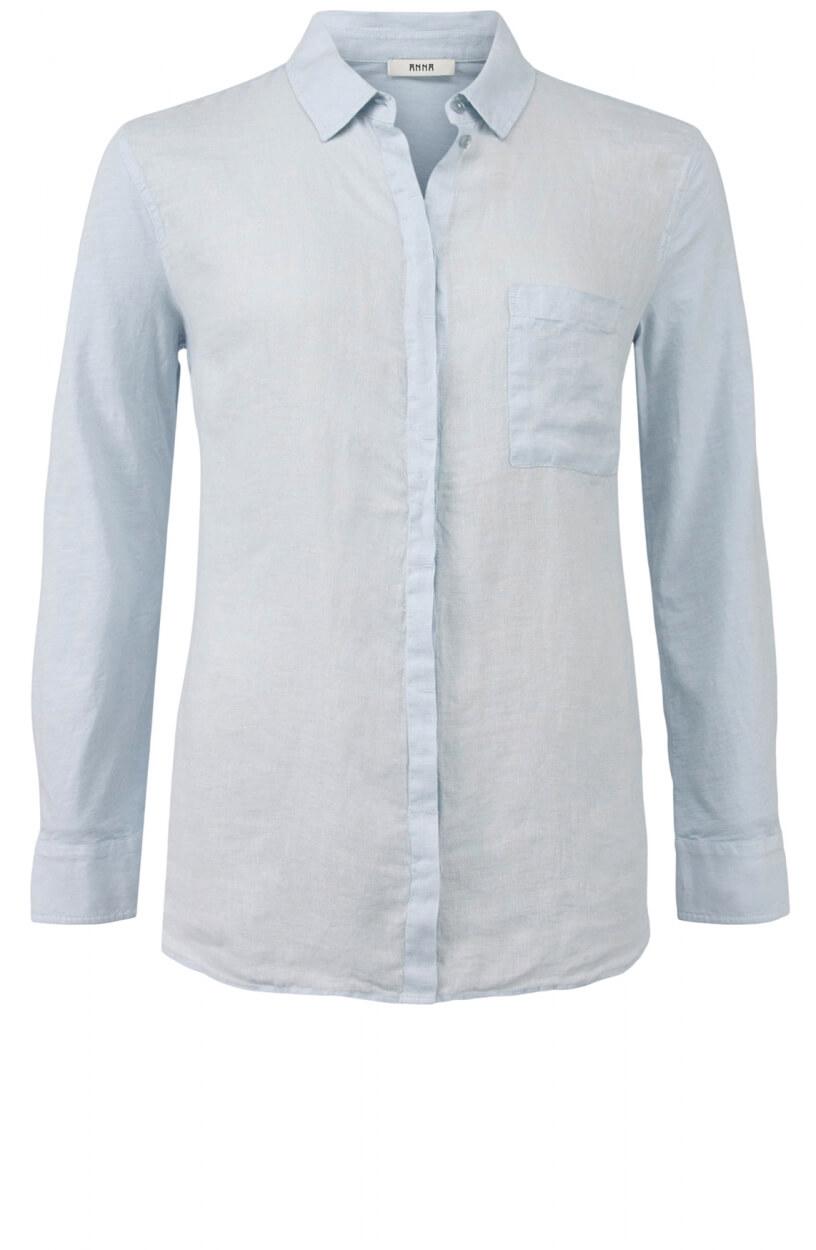 Anna Dames Materiaalmix blouse Blauw