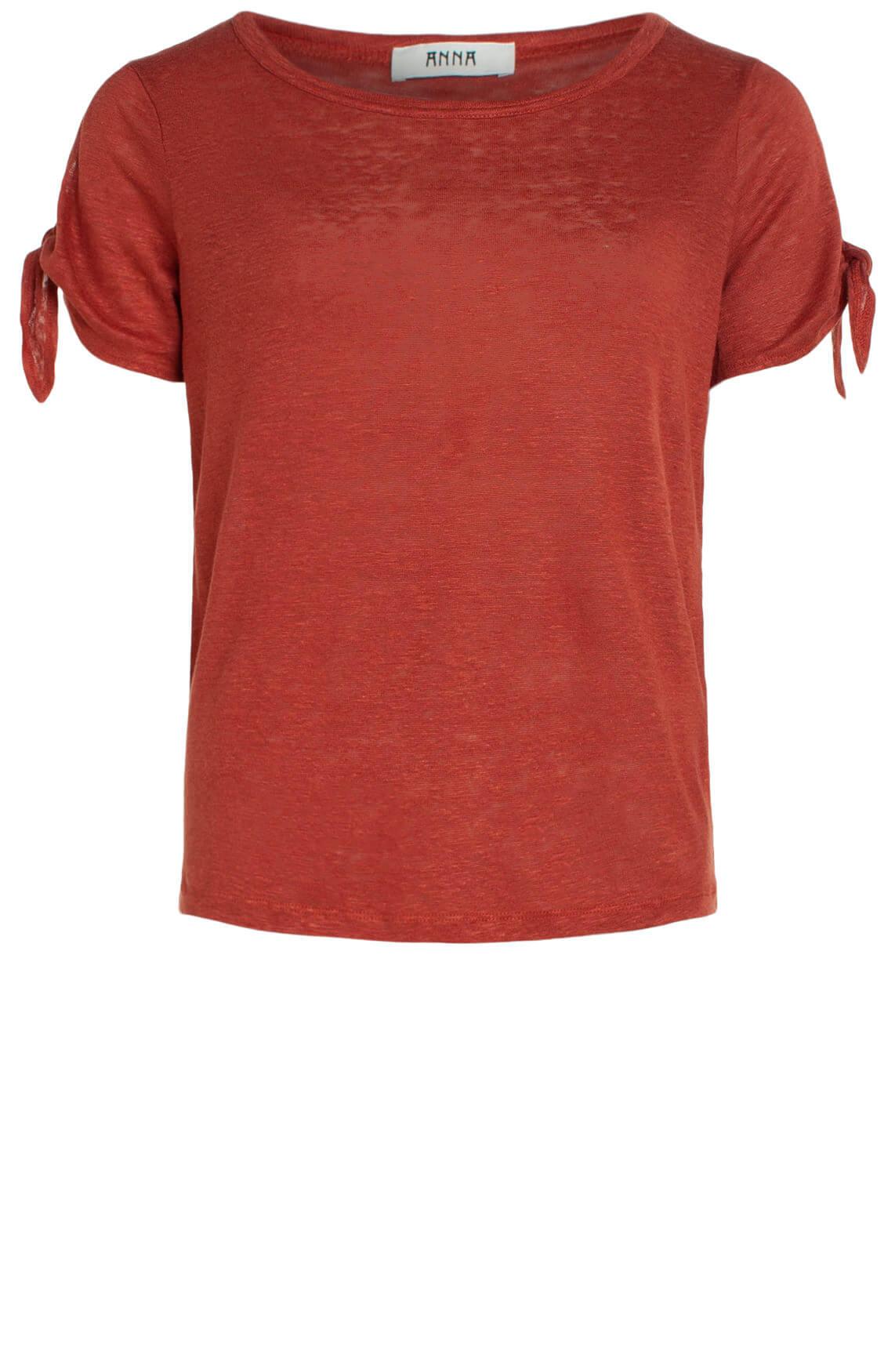 Anna Dames Linnen shirt met knoopdetail Rood