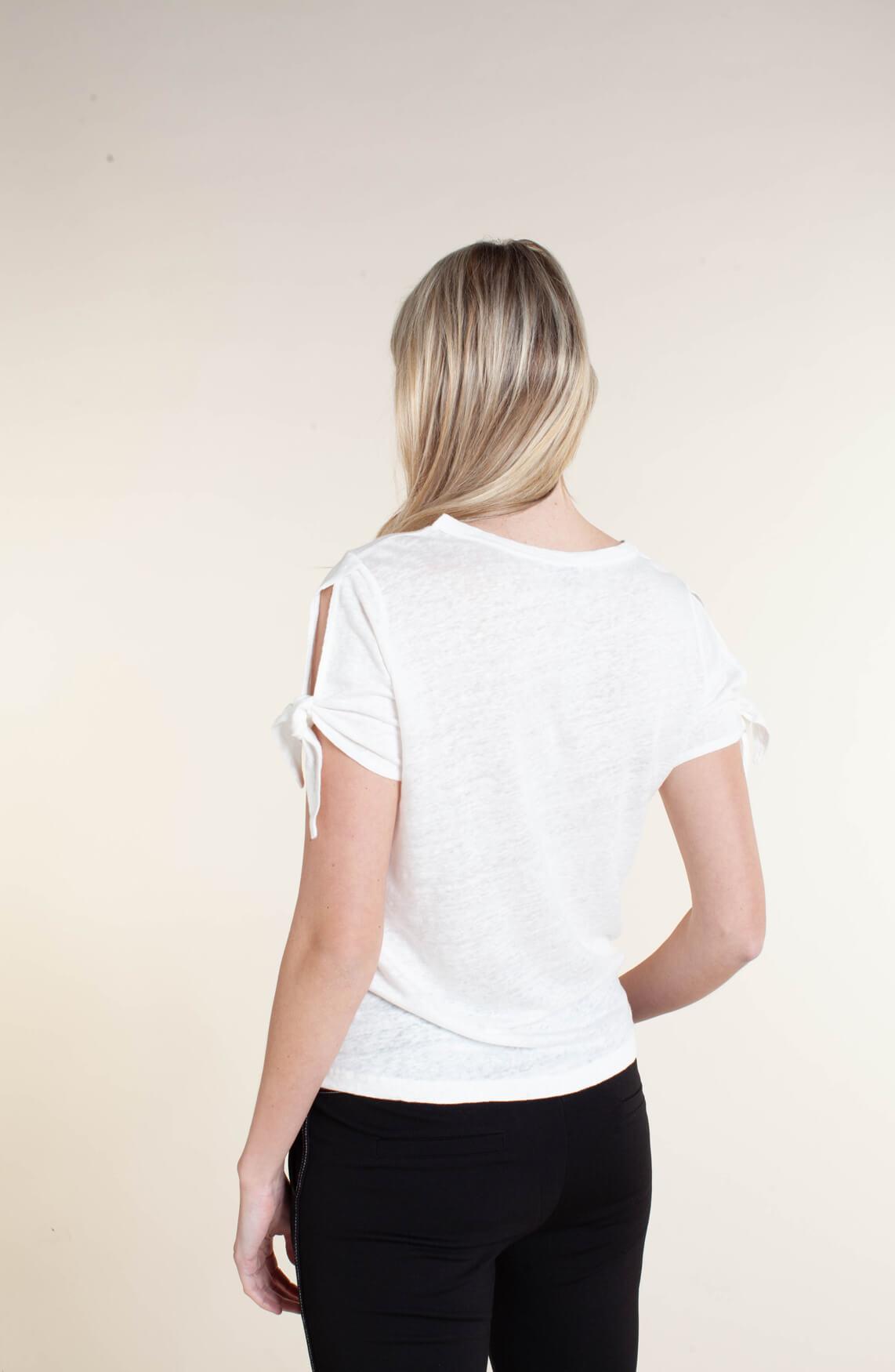 Anna Dames Linnen shirt met knoopdetail wit