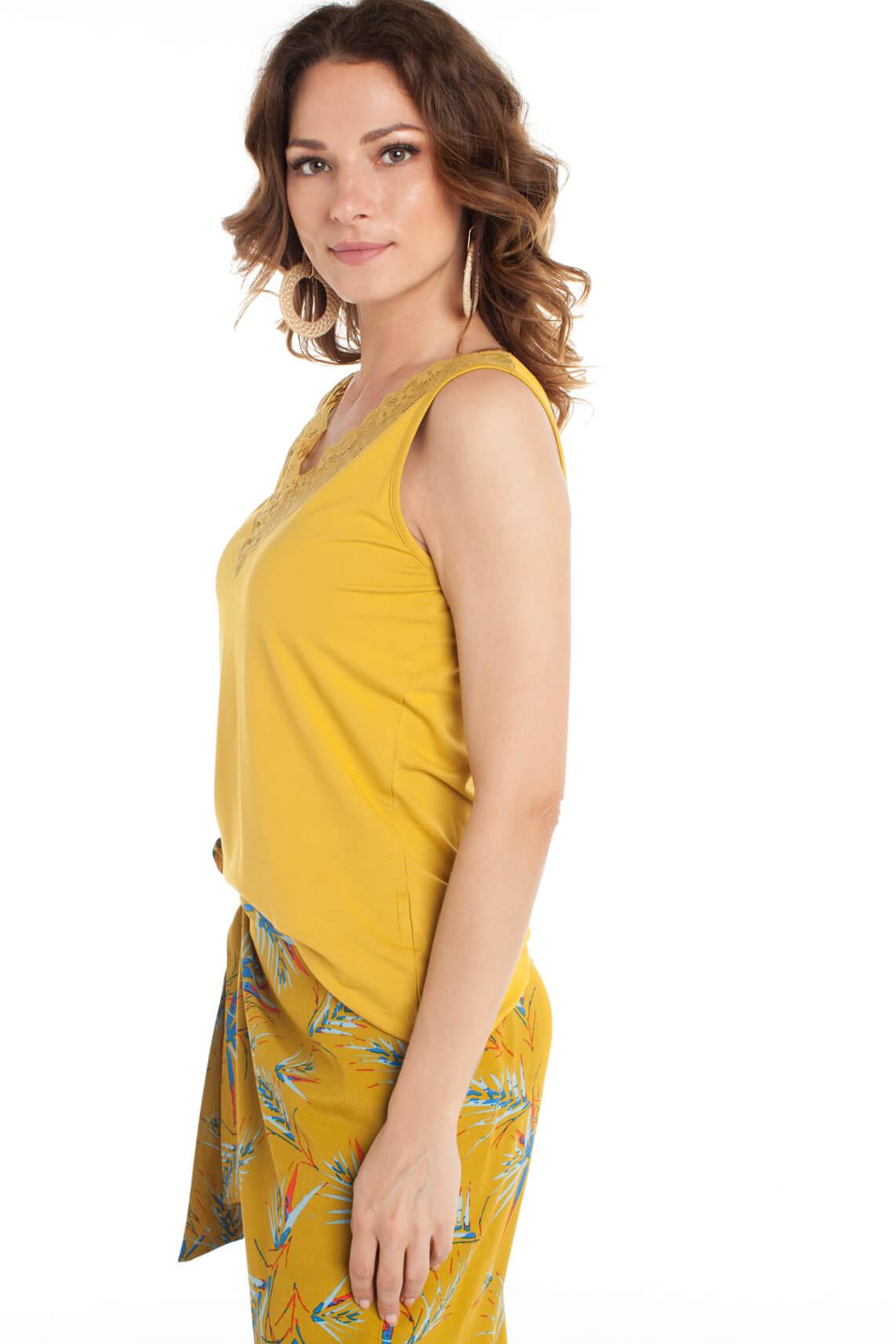 Anna Dames Top met kant geel