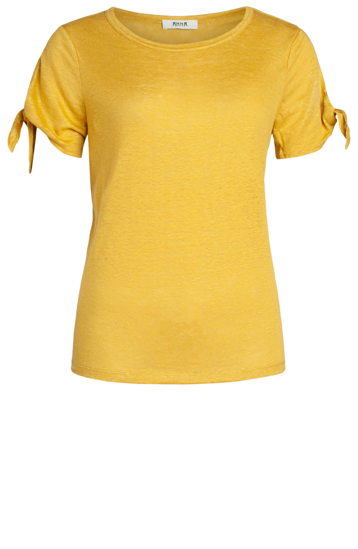 Anna Dames Linnen shirt met knoopdetail geel