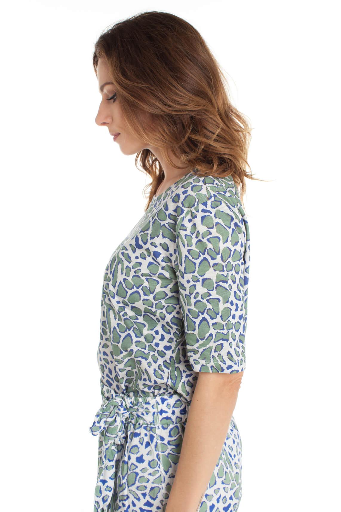 Anna Blue Dames Shirt met panterprint Blauw