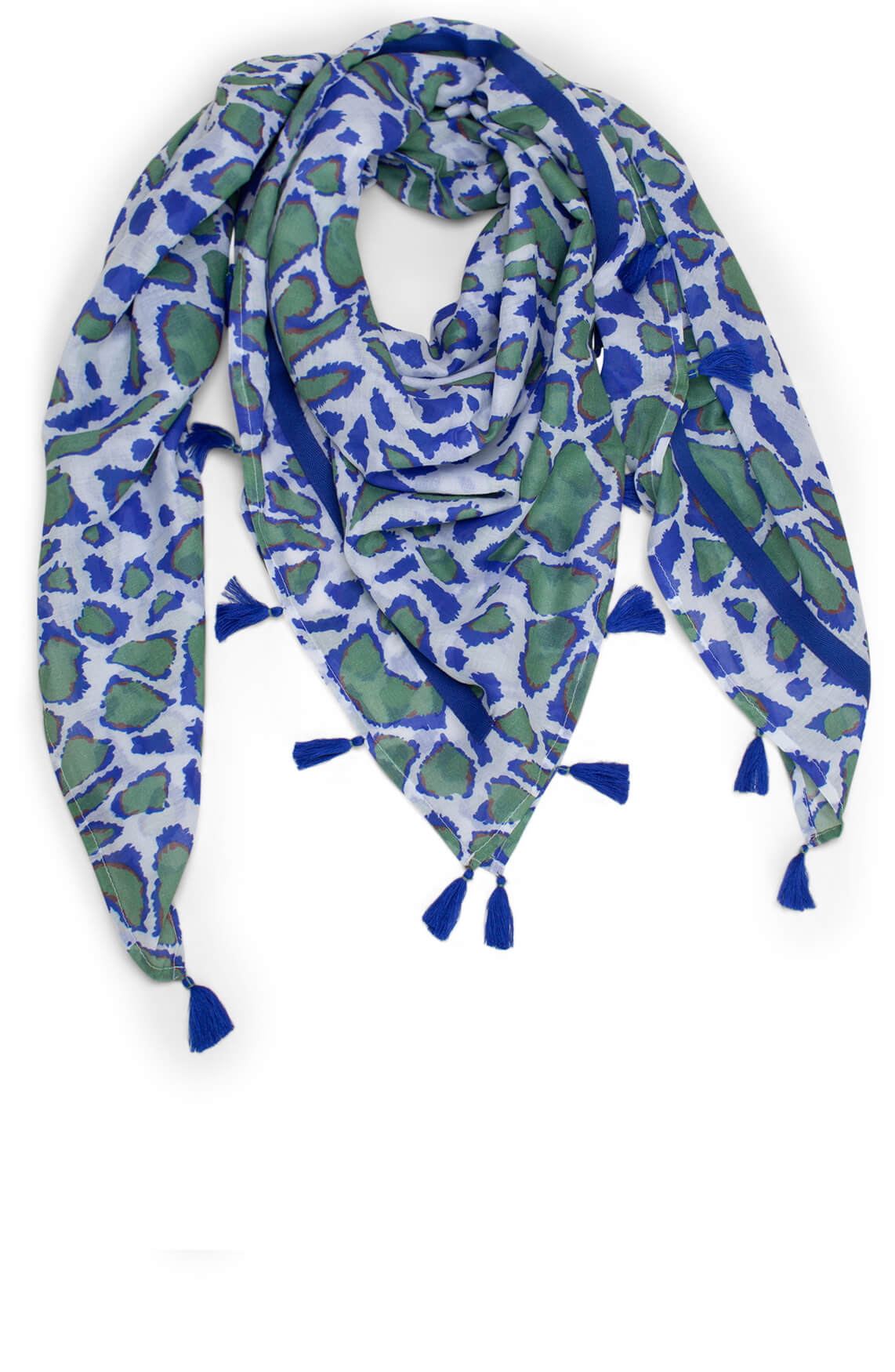 Anna Blue Dames Giraffe print shawl met kwastjes Blauw