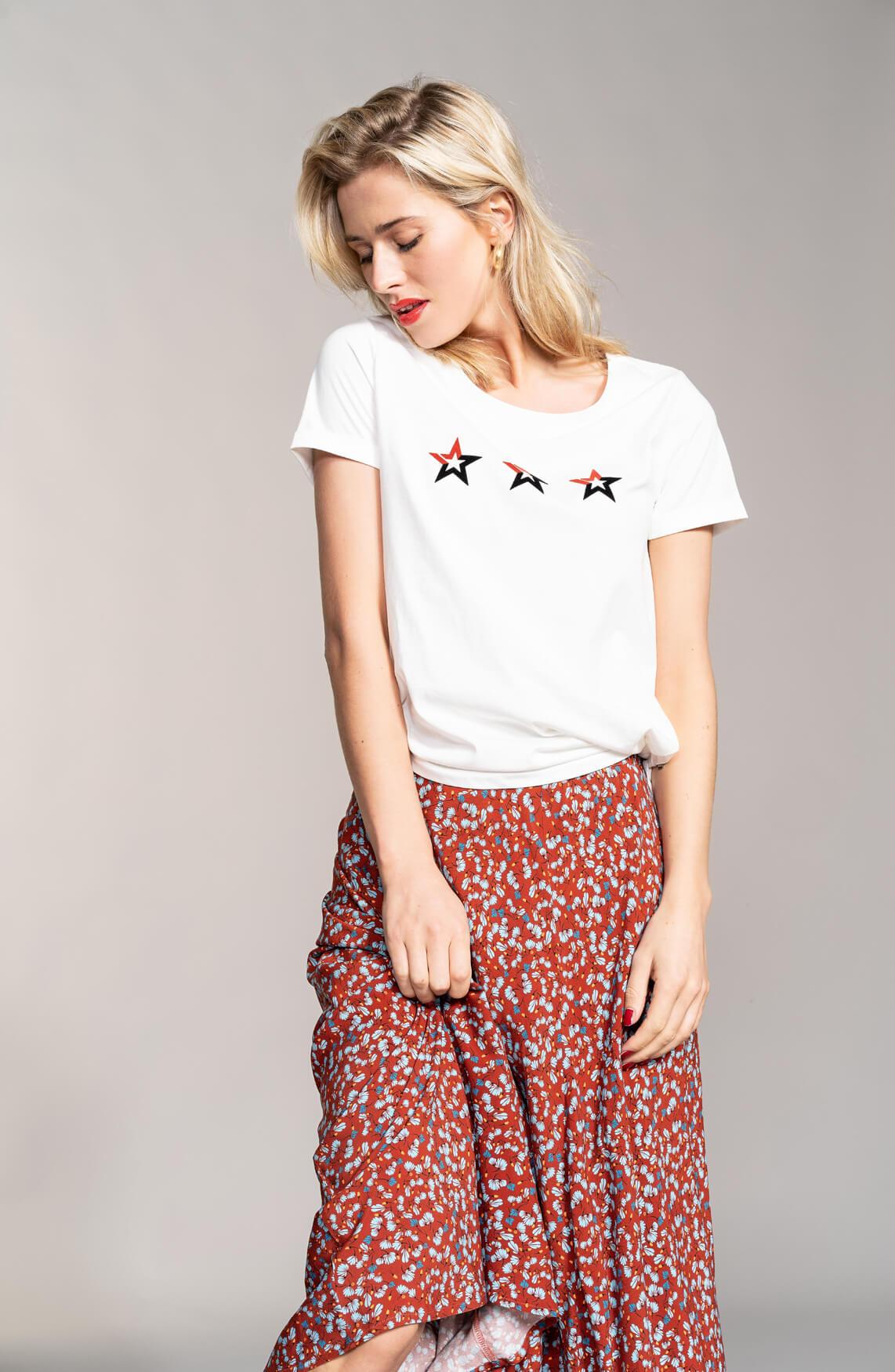 Anna Dames Shirt met sterren wit