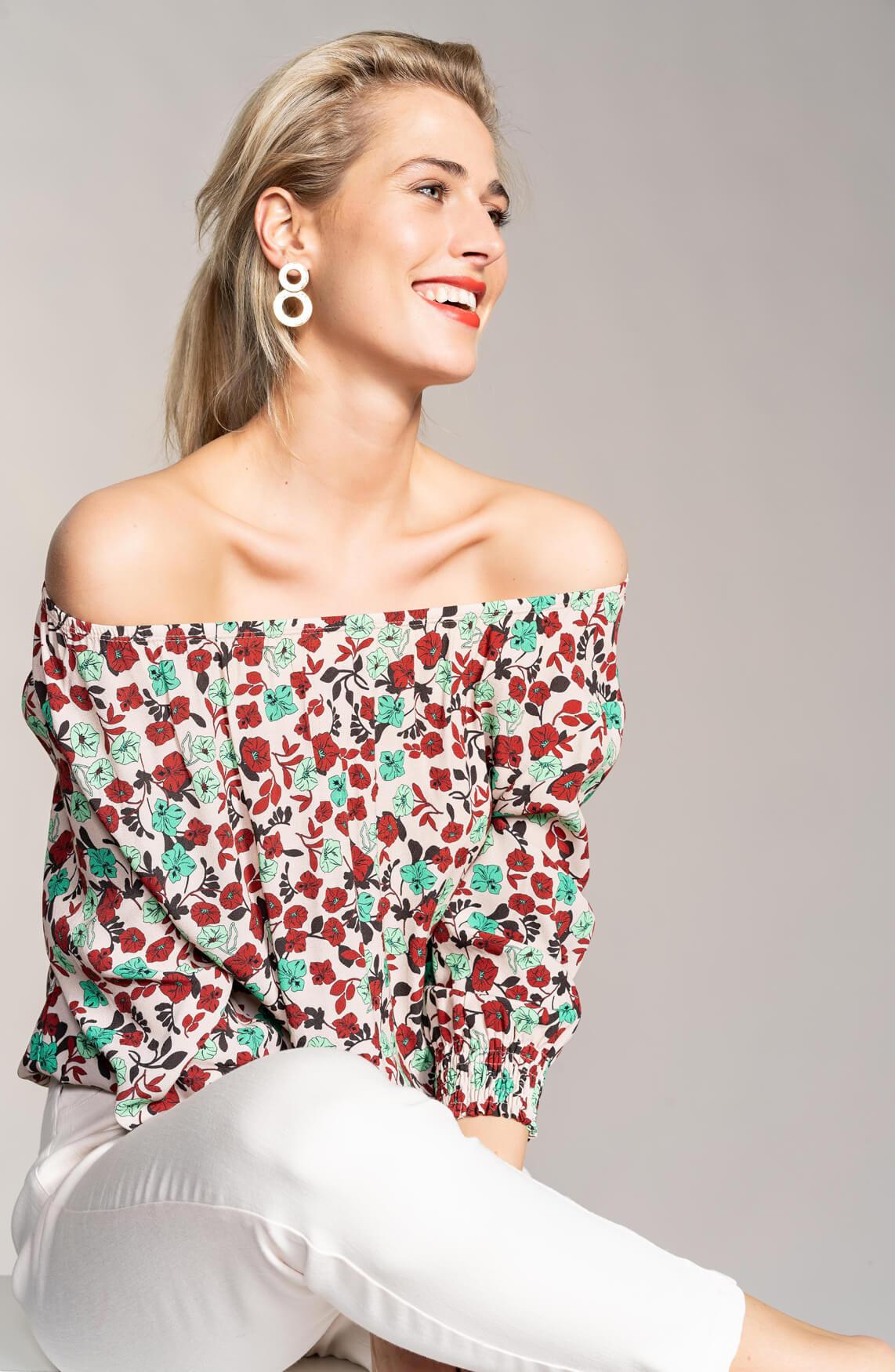 Anna Dames Gebloemde blouse roze