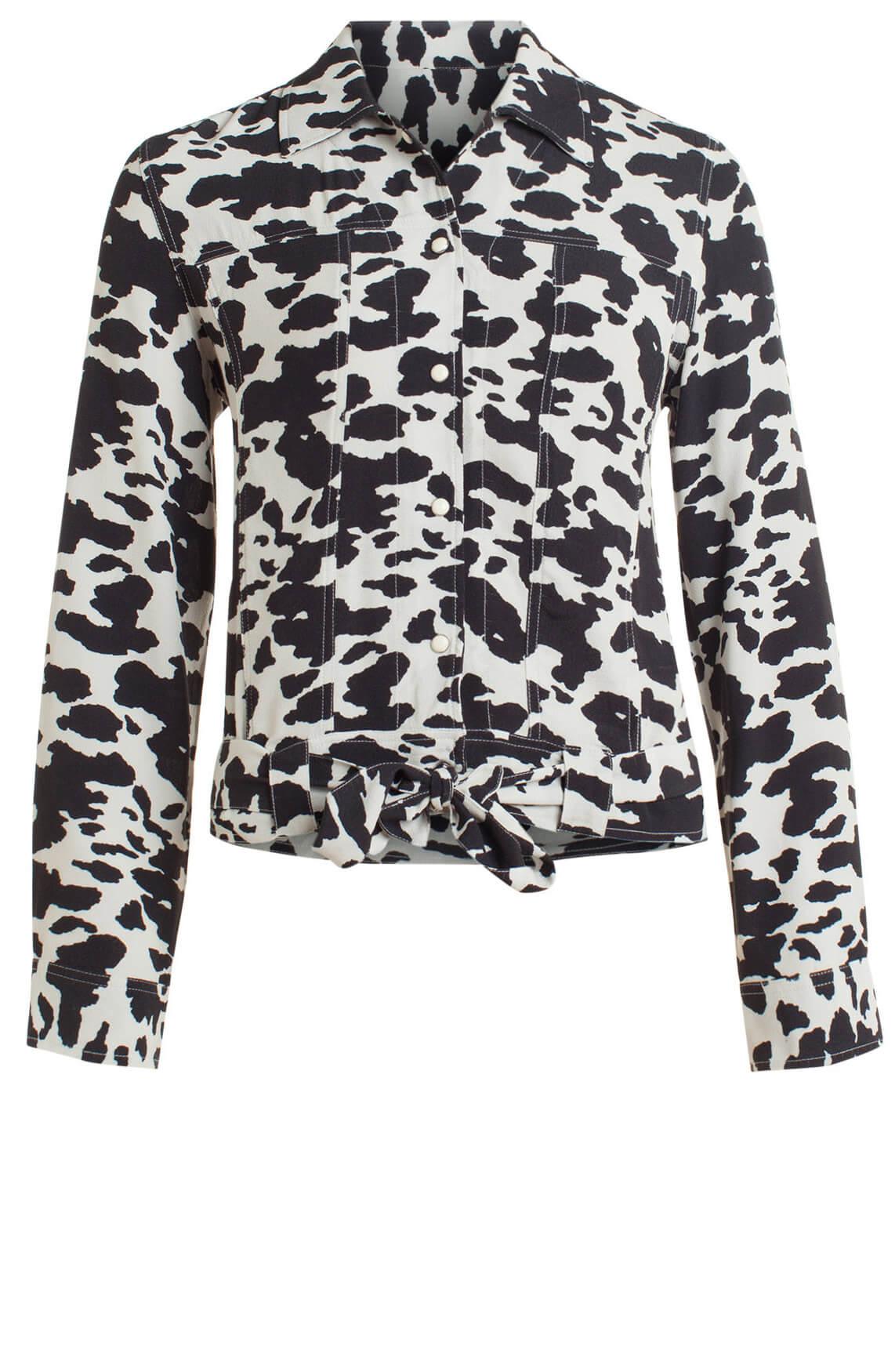 Anna Dames Gevlekt blousejasje zwart