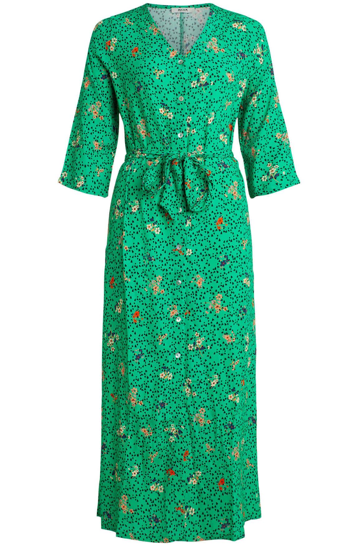 Anna Dames Lange jurk met print groen