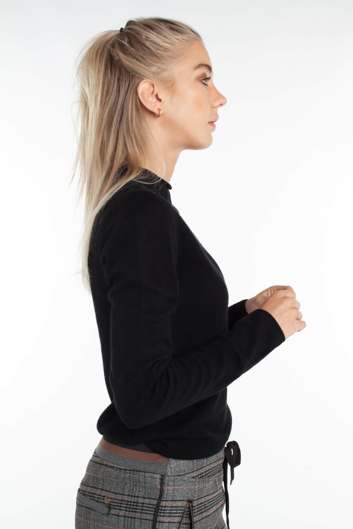 Anna Dames Cashmere pullover met col zwart