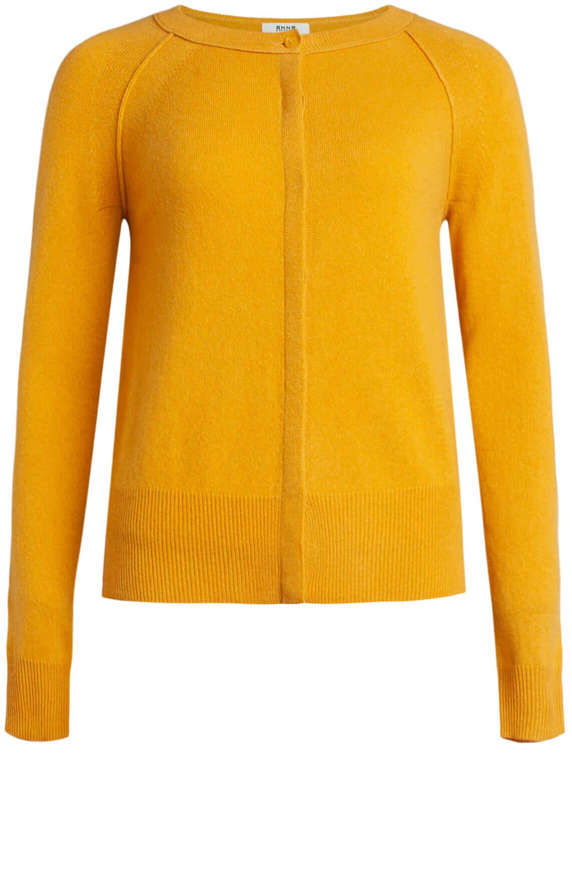 Anna Dames Cashmere vest geel
