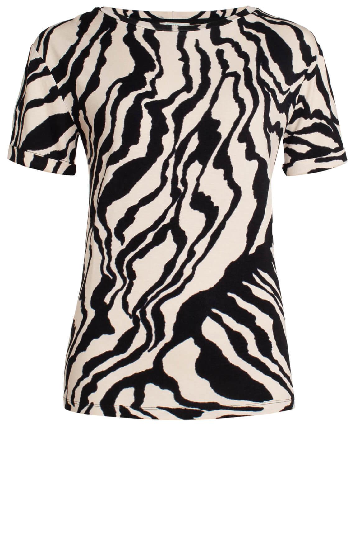 Anna Dames Shirt met zebraprint zwart