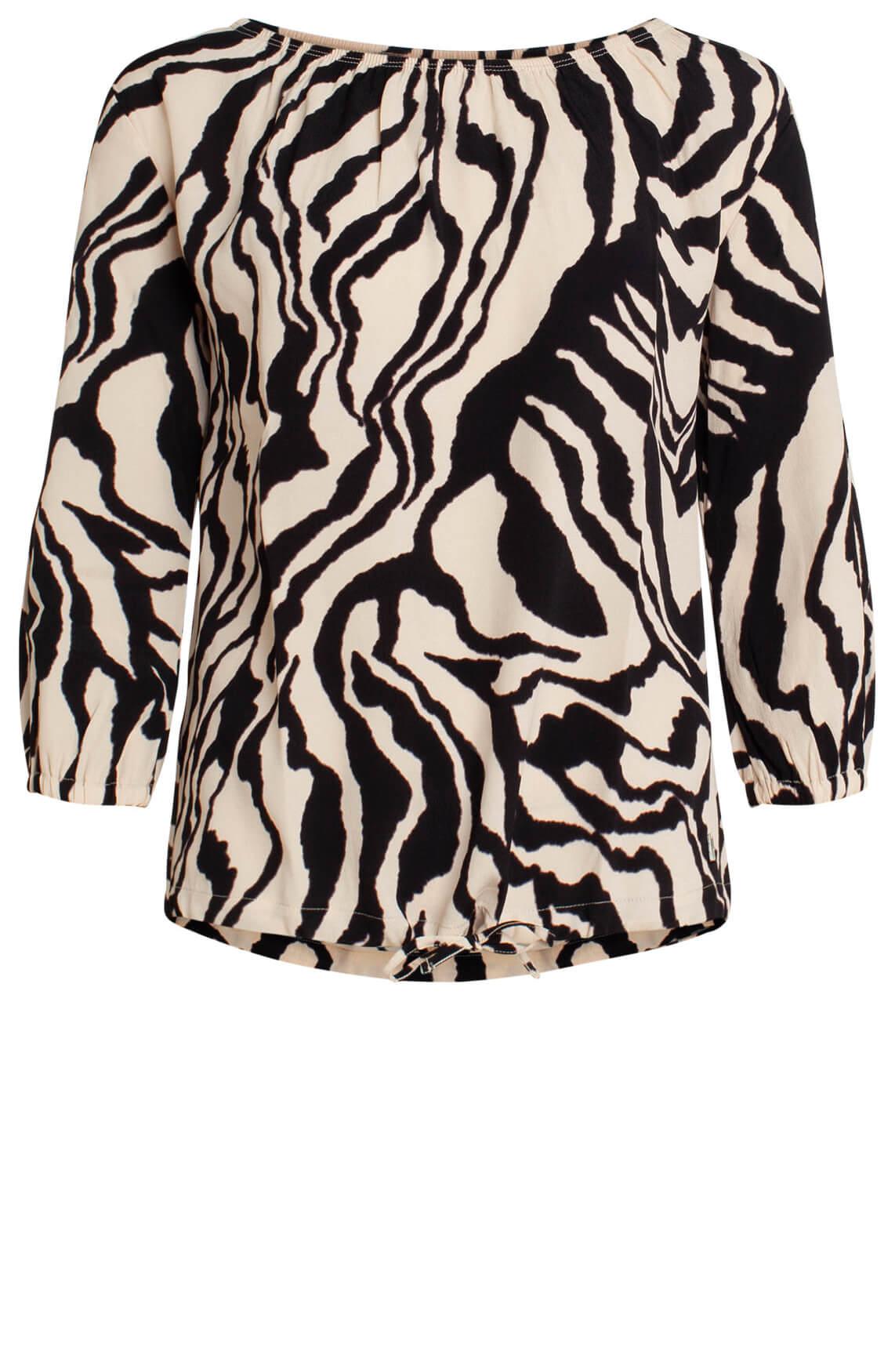 Anna Dames Blouse met zebraprint zwart