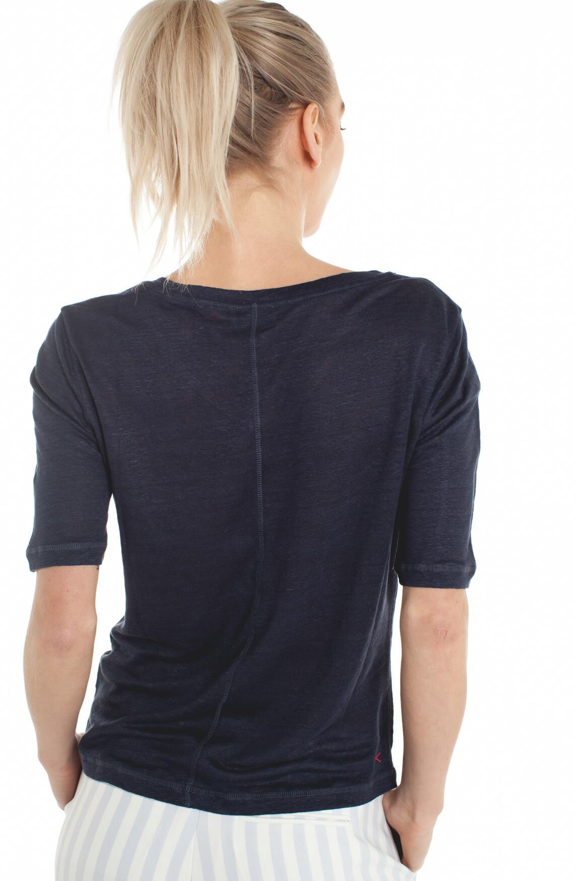 Anna Blue Dames Linnen shirt met V-hals Blauw