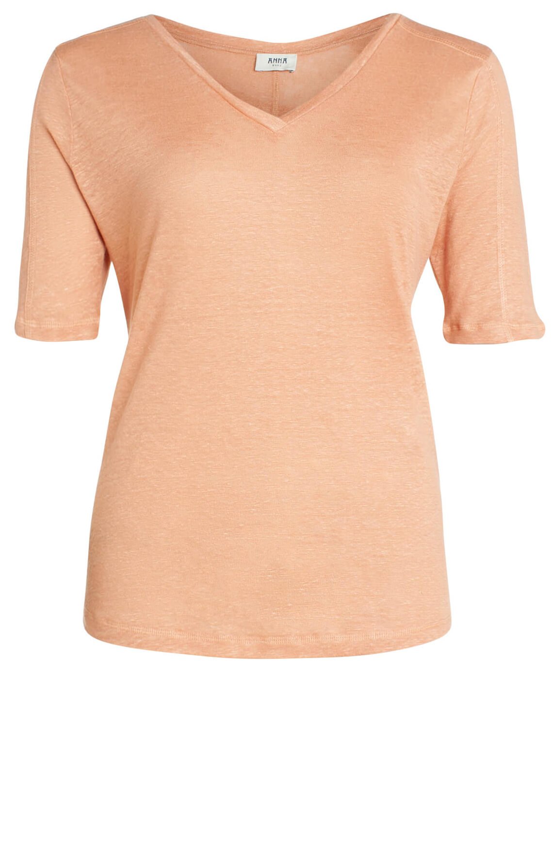 Anna Blue Dames Linnen shirt met V-hals roze