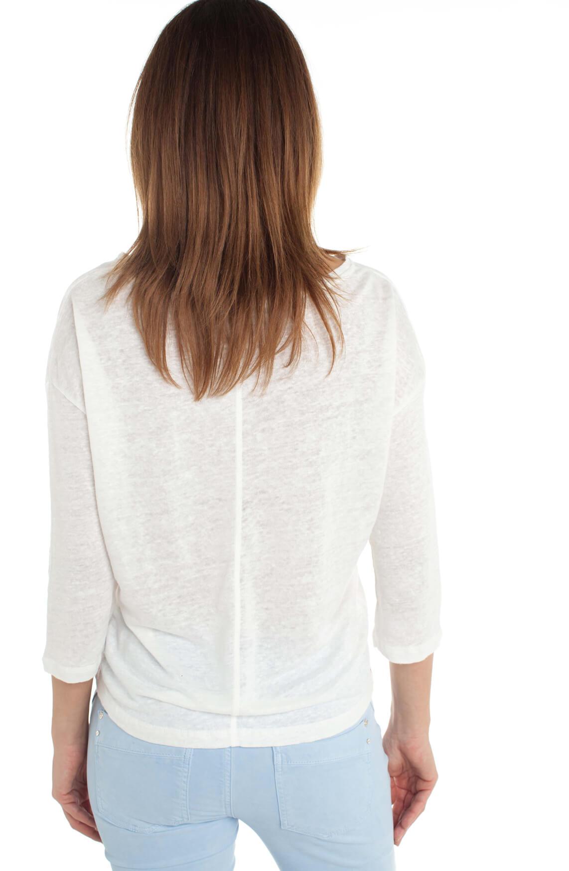 Anna Blue Dames Linnen shirt wit