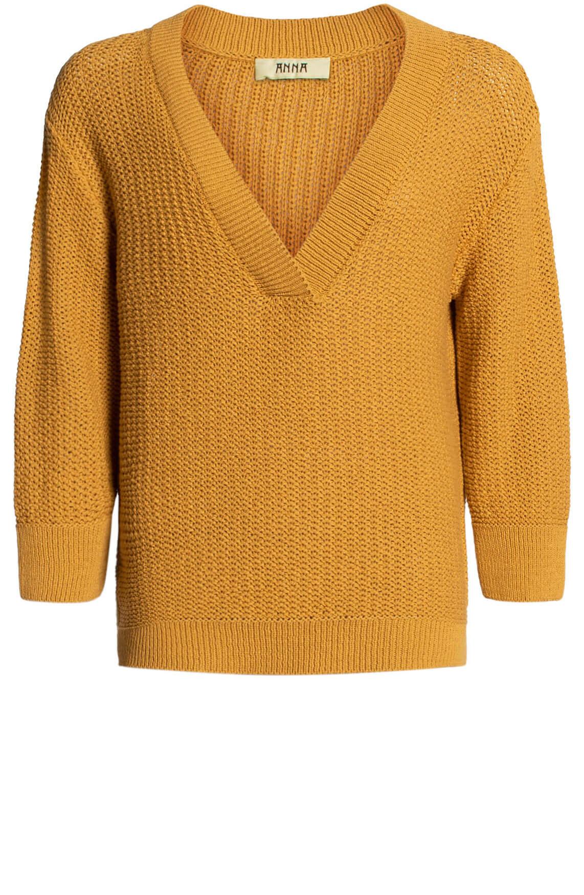 Anna Blue Dames V-hals pullover geel