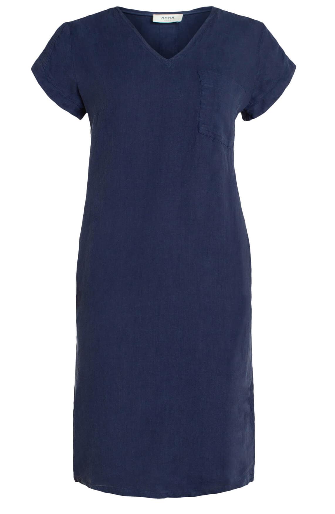 Anna Blue Dames Linnen jurk met bies Blauw