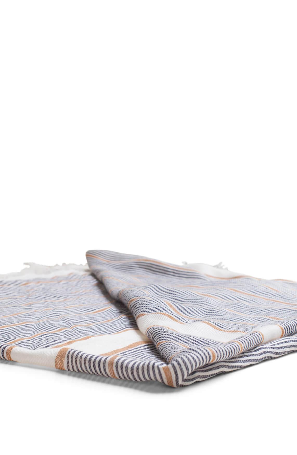 Anna Blue Dames Shawl met strepen wit
