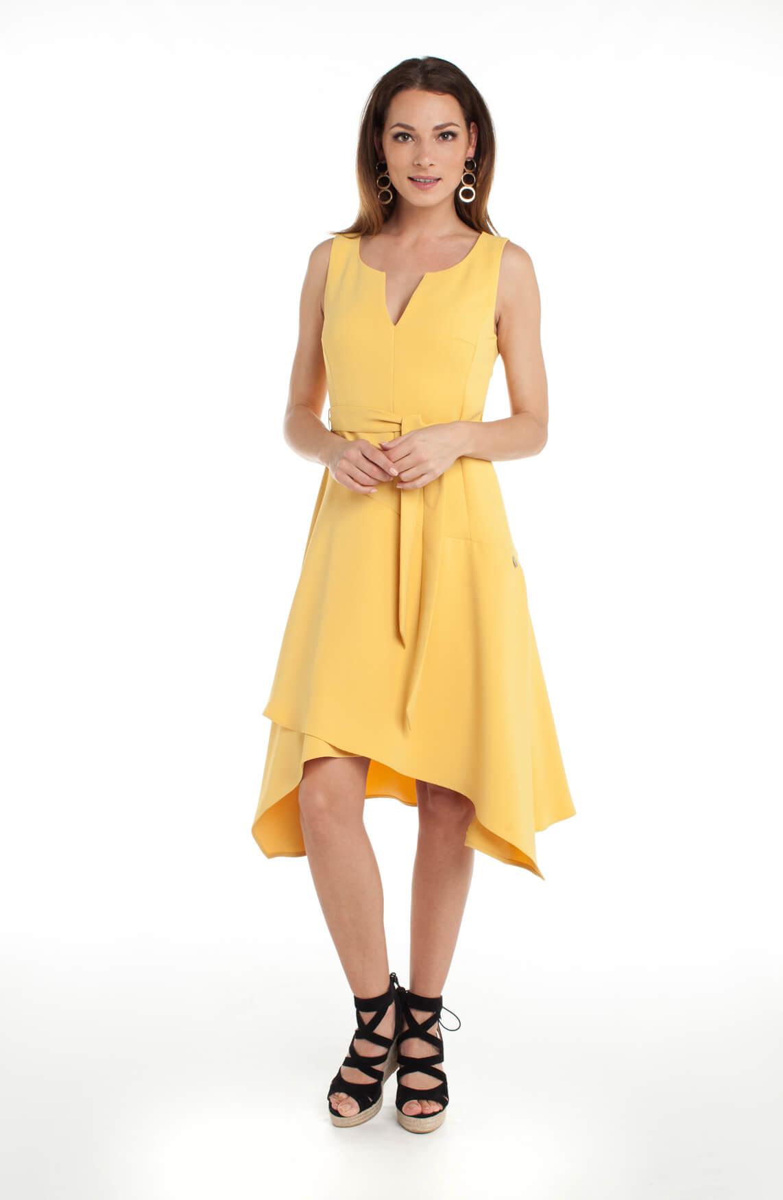 Anna Dames Jurk met ceintuur geel