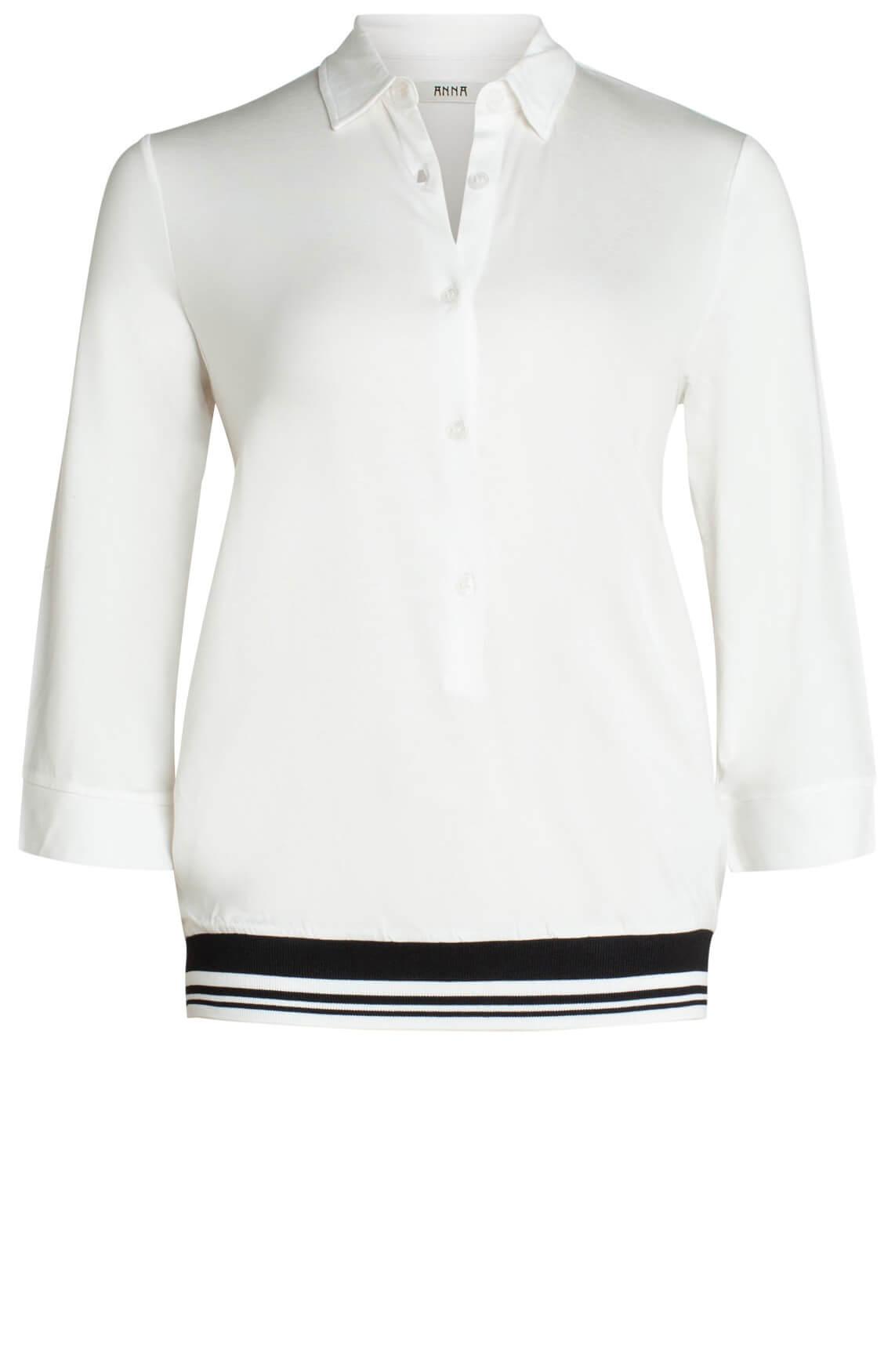 Anna Dames Casual blouse met bies wit