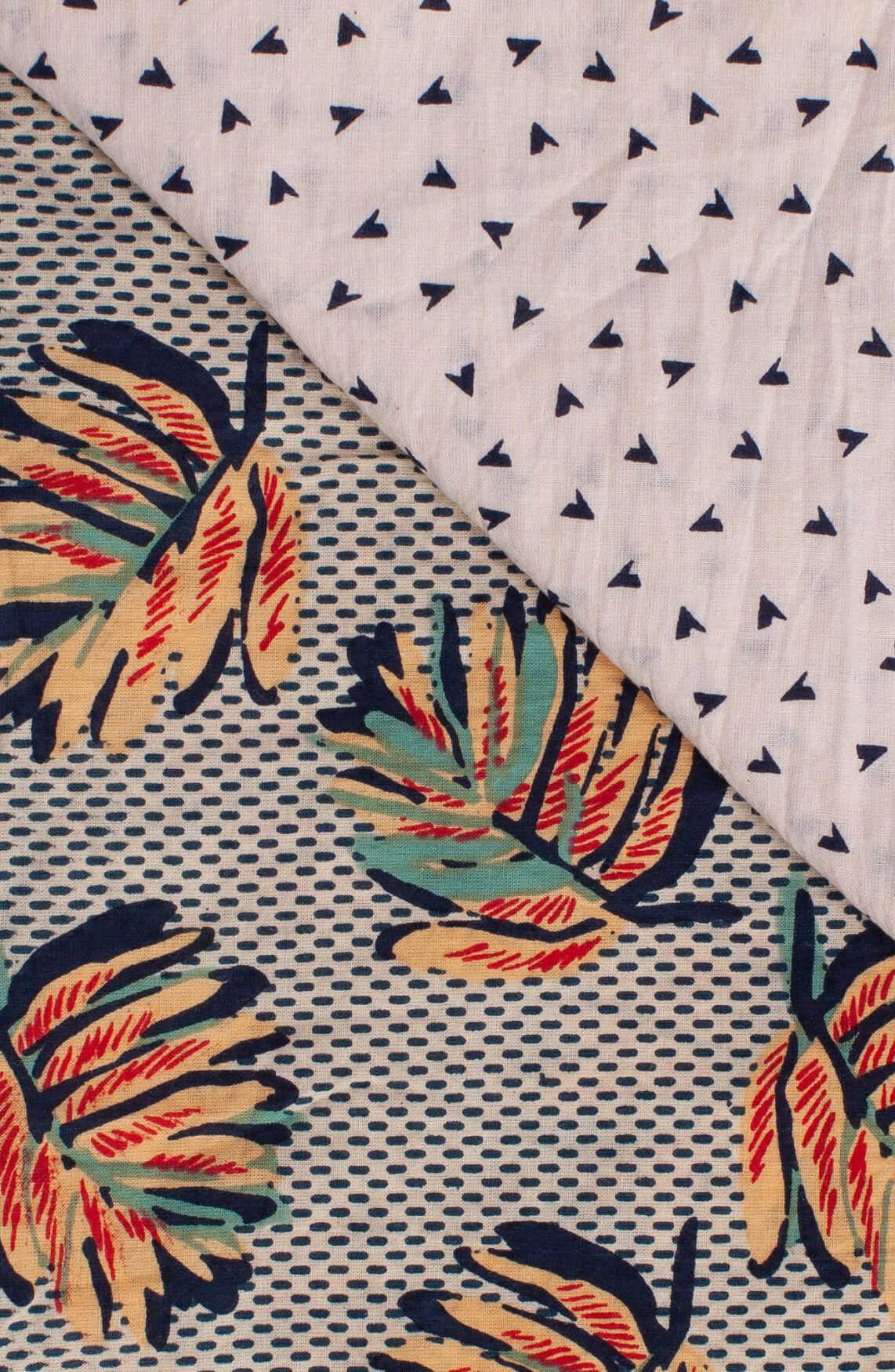 Anna Blue Dames Geprinte shawl met kwastjes Blauw