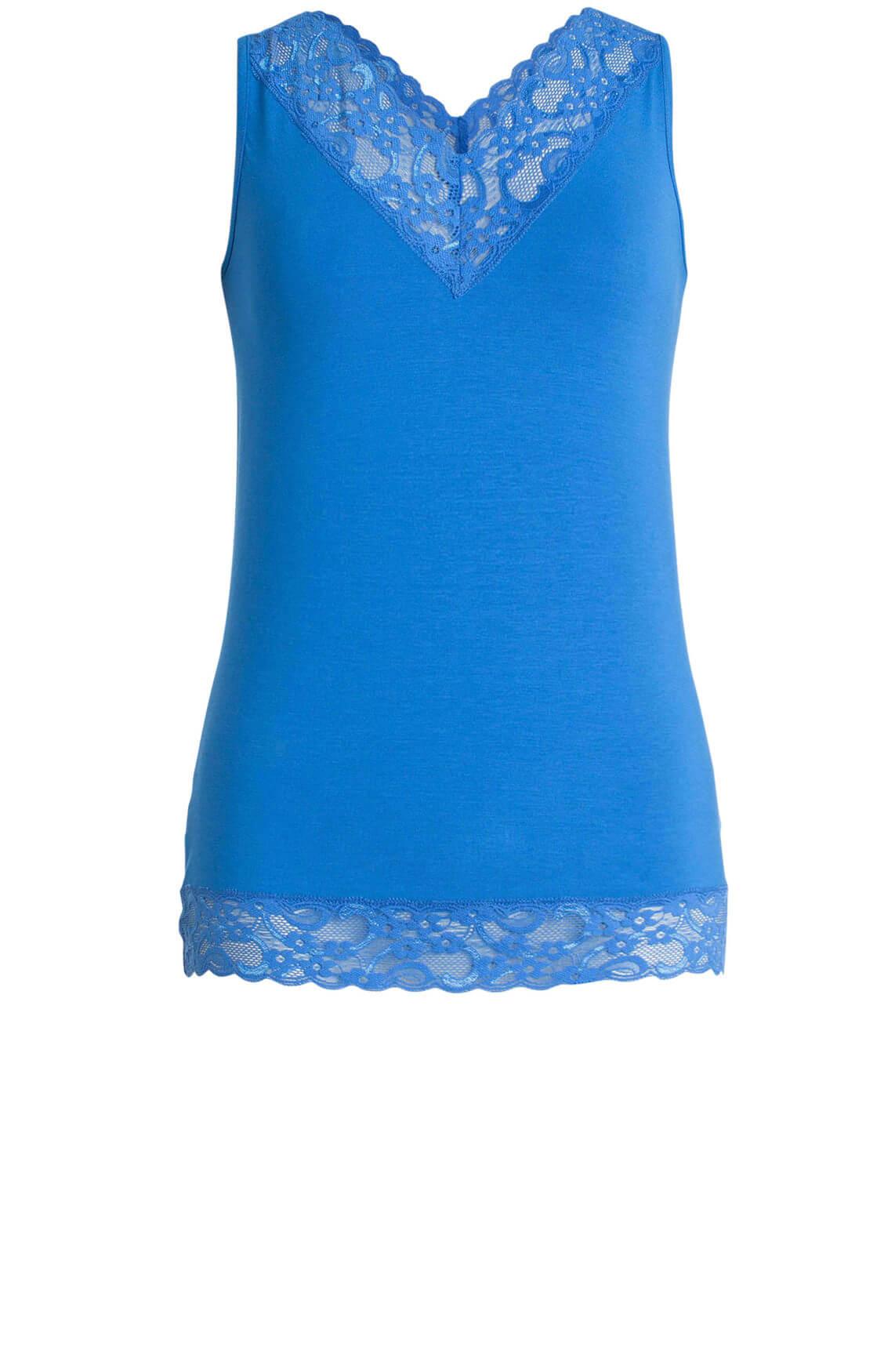 Anna Dames Top met kant Blauw