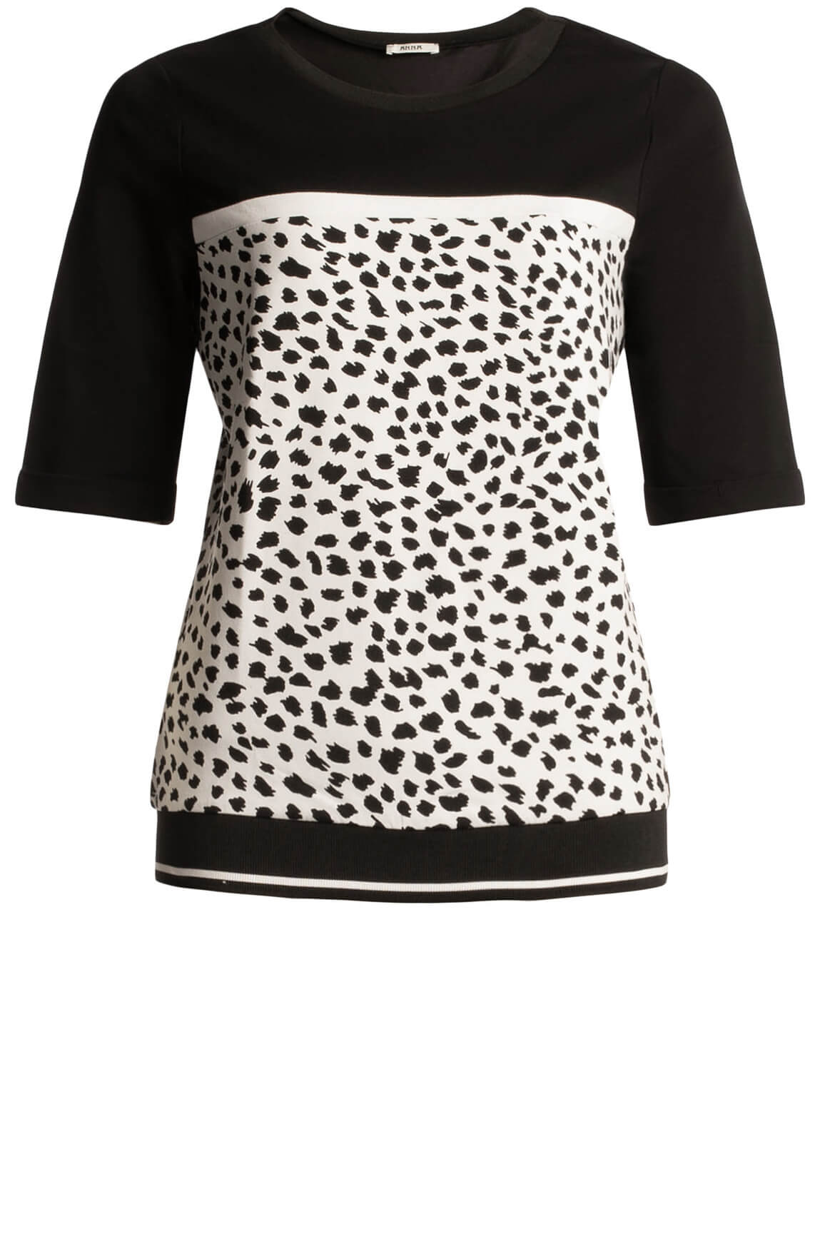 Anna Dames Sweater met animalprint zwart