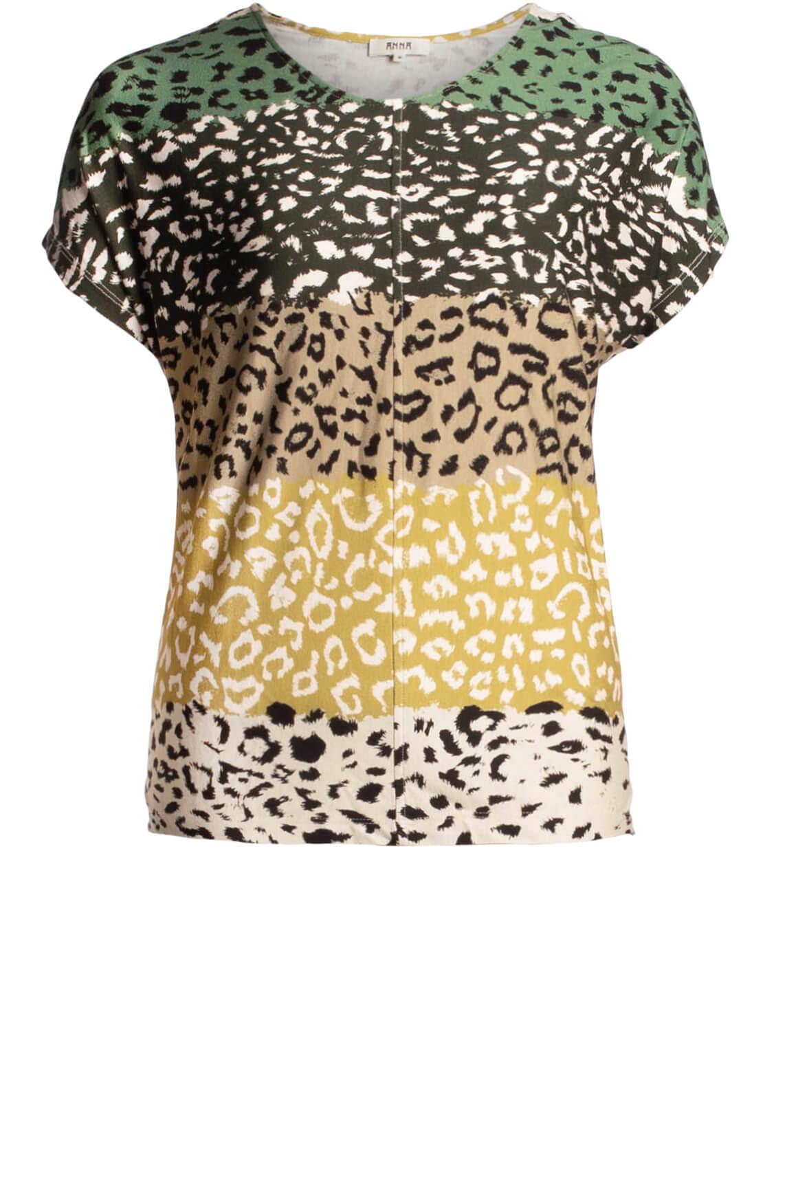 Anna Dames Shirt met animalprint groen