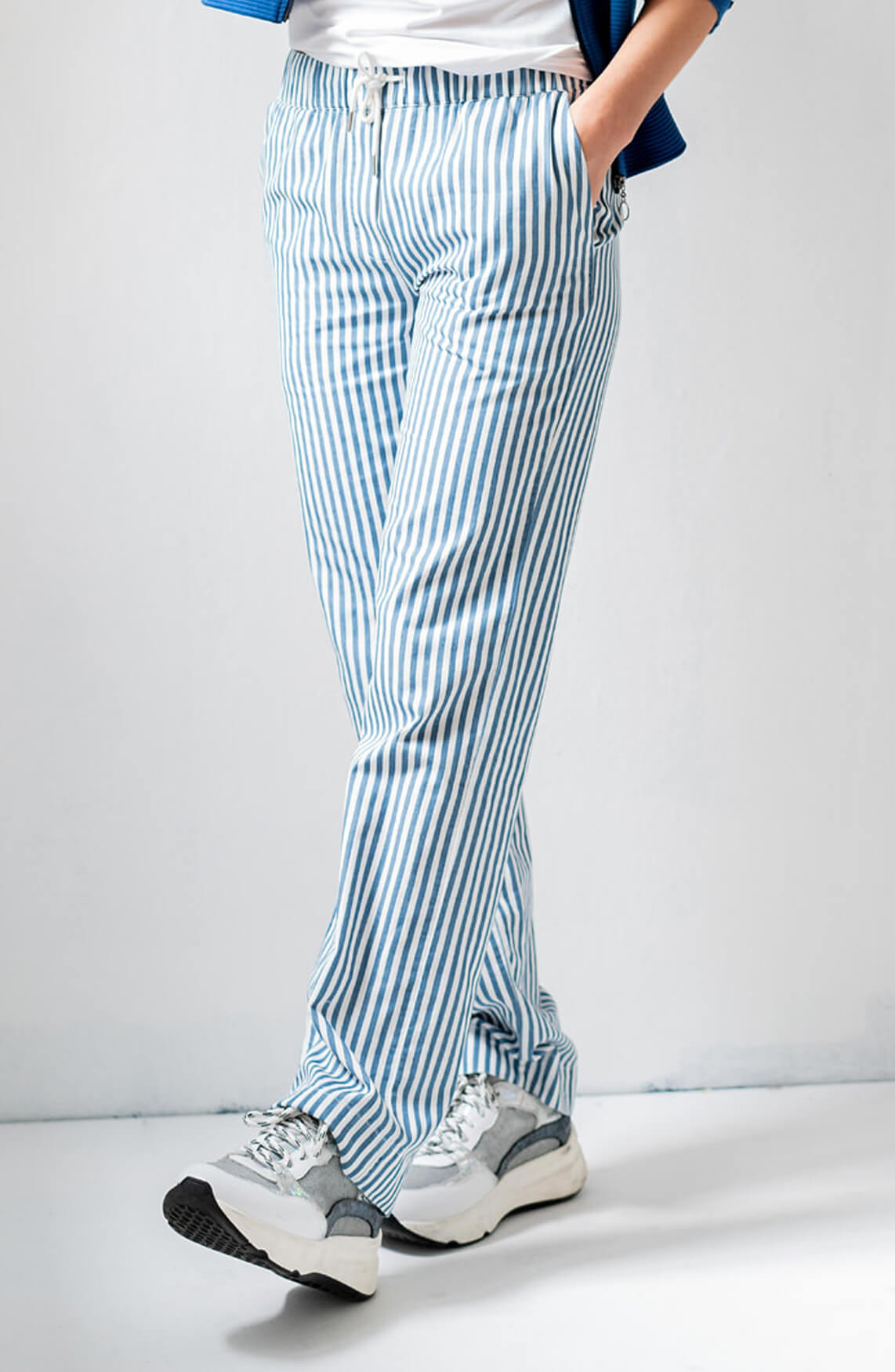 Anna Dames Gestreepte loose fit pantalon wit