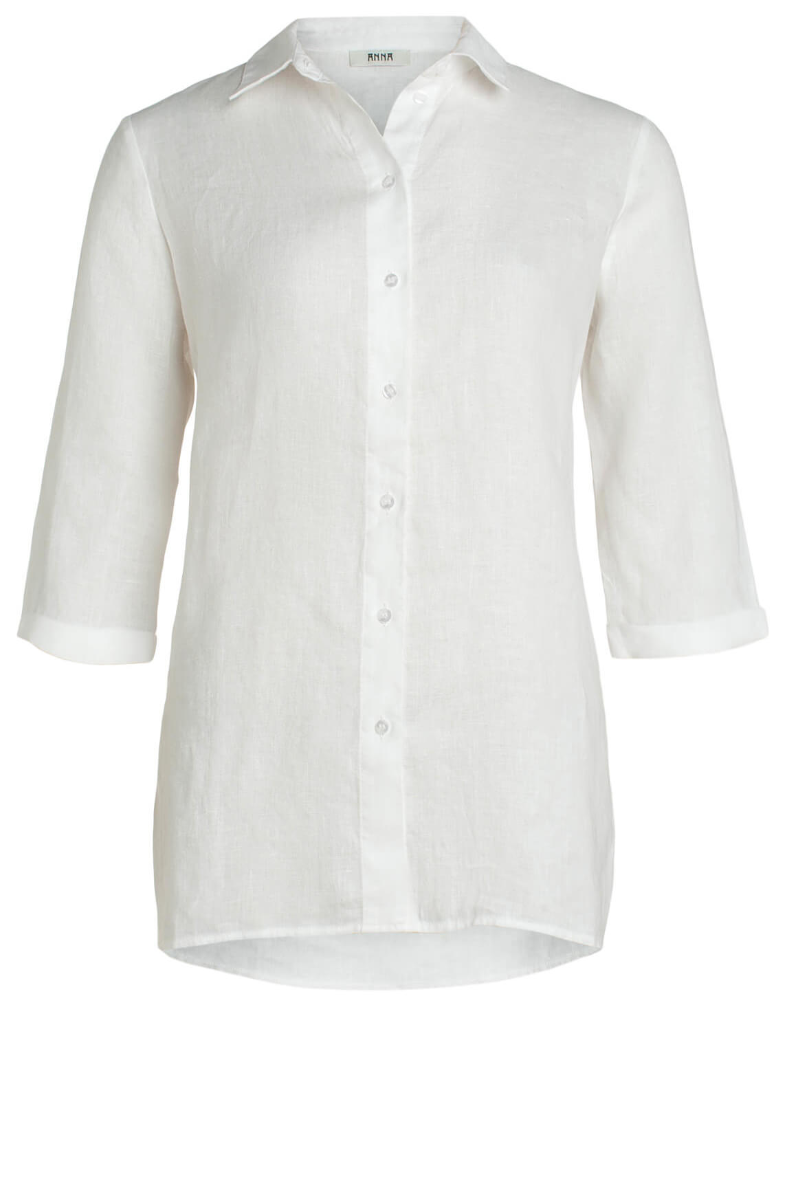 Anna Dames Linnen blouse wit
