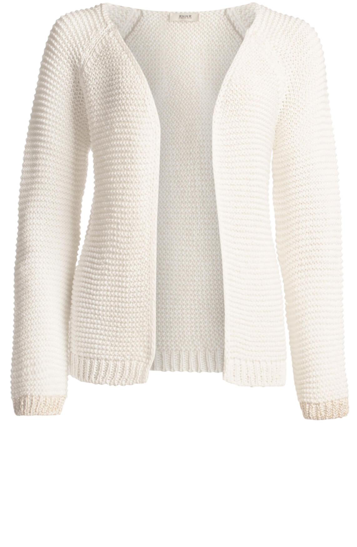 Anna Dames Gebreid vest met lurex detail wit