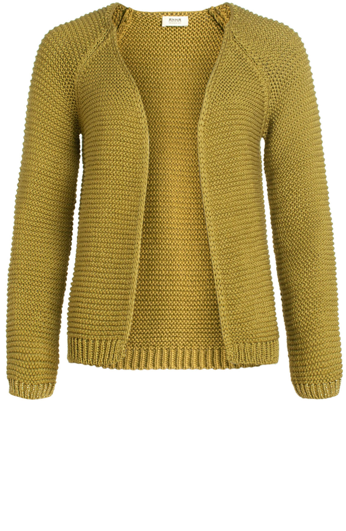 Anna Dames Gebreid vest met lurex detail groen