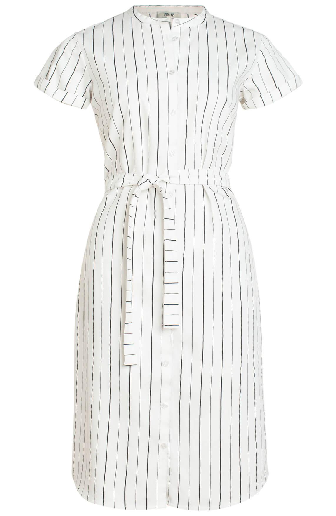 Anna Dames Gestreepte jurk met knoopsluiting wit
