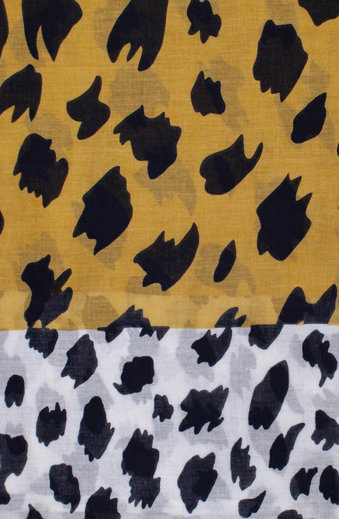 Anna Dames Shawl met gevlekte print en kwastjes geel