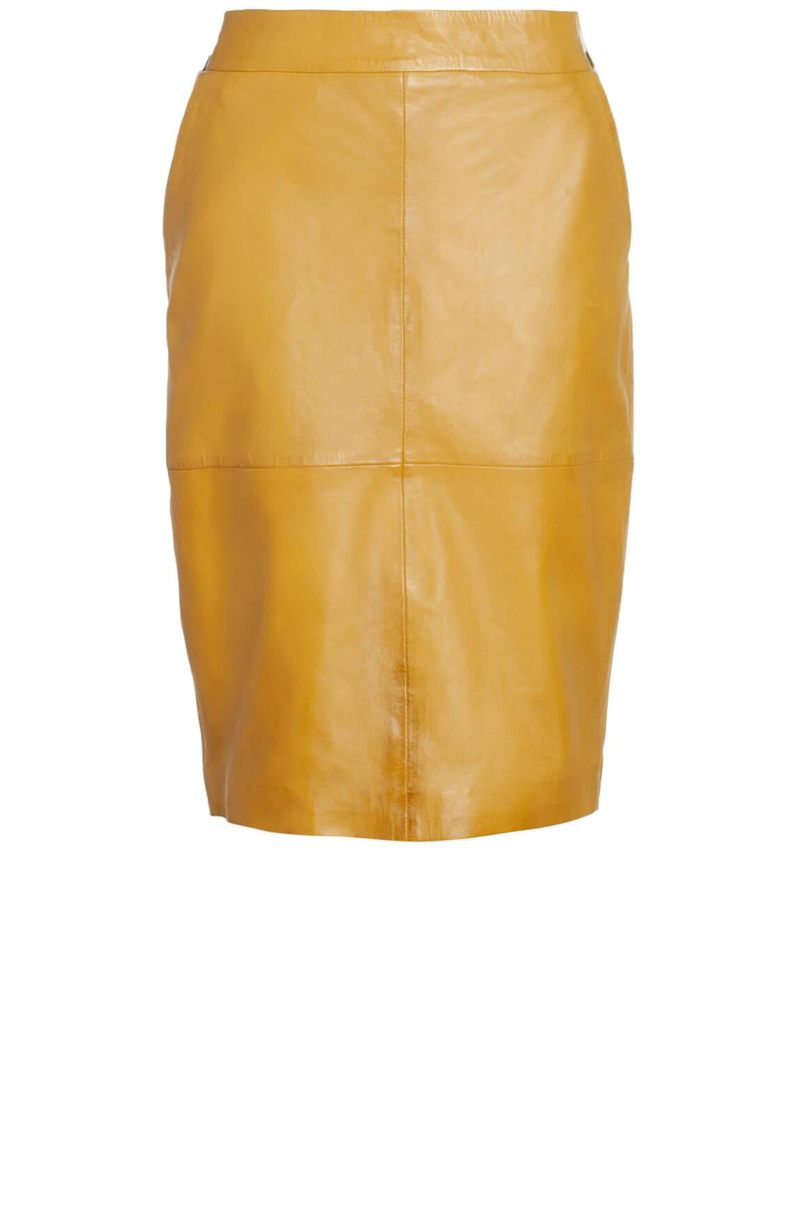 Anna Dames Leren rok geel