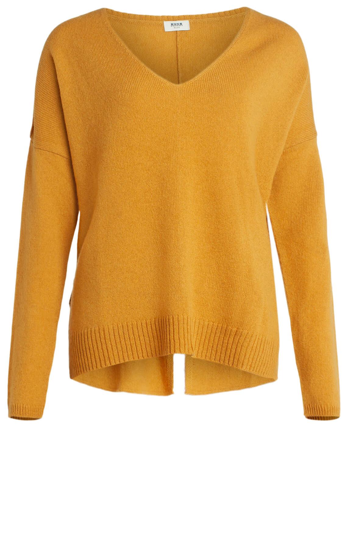 Anna Blue Dames Gebreide pullover met V-hals geel