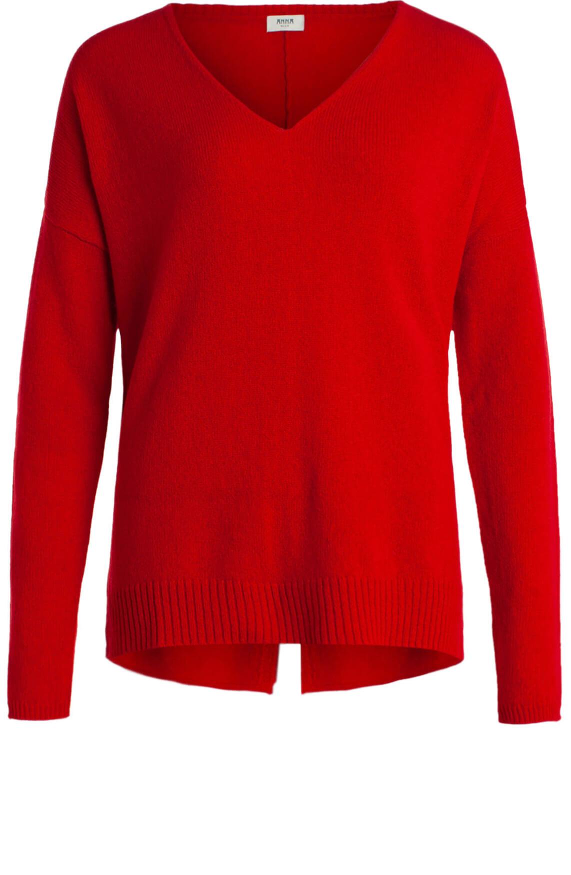 Anna Blue Dames Wollen pullover met V-hals Rood