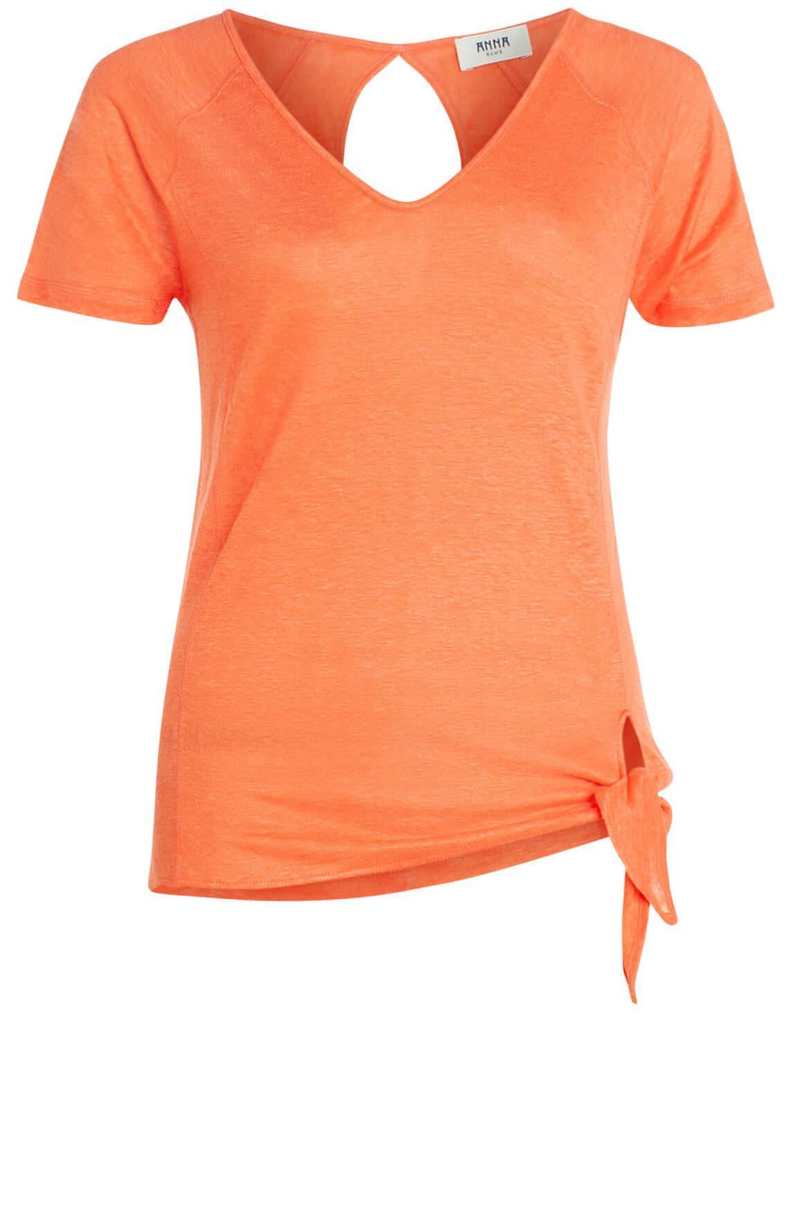 Anna Blue Dames Shirt met knoopdetail Oranje